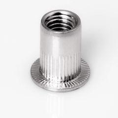 Blindnietmutter Stahl verzinkt, Rundschaft, offen, Flachkopf  - M4 - 0,5 bis 3,0mm