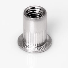 Blindnietmutter Stahl verzinkt, Rundschaft, offen, Flachkopf  - M4 - 3,1 bis 4,0mm