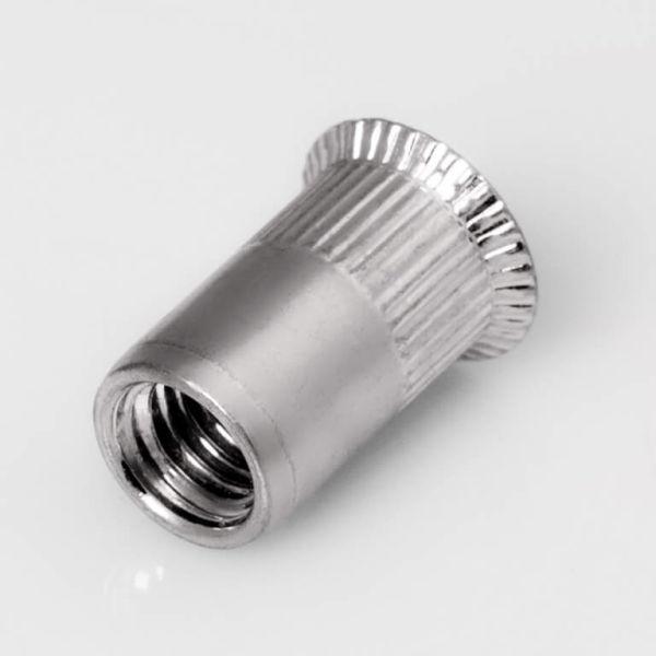 250 Stk Blindnietmuttern M8 Stahl verz Flachkopf Sechskant geschlossen 0,5-3mm